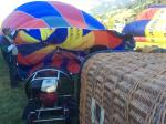 inflation of the hot air balloon close to Megeve