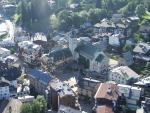 Centre ville de Megève vu de la montgolfière